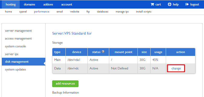 """""""Change"""" button in VPS and Dedicated Server Performance to Mount Storage"""