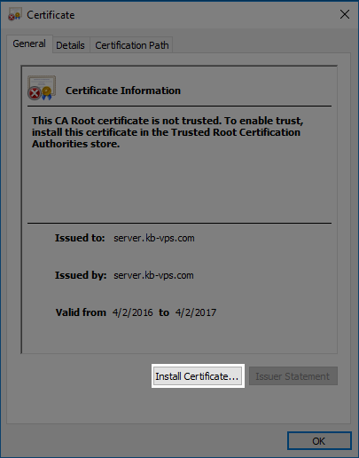 Outlook Install Certificate