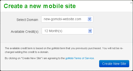 Select the mobile site domain