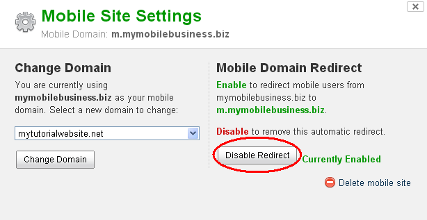 Disable re-direct