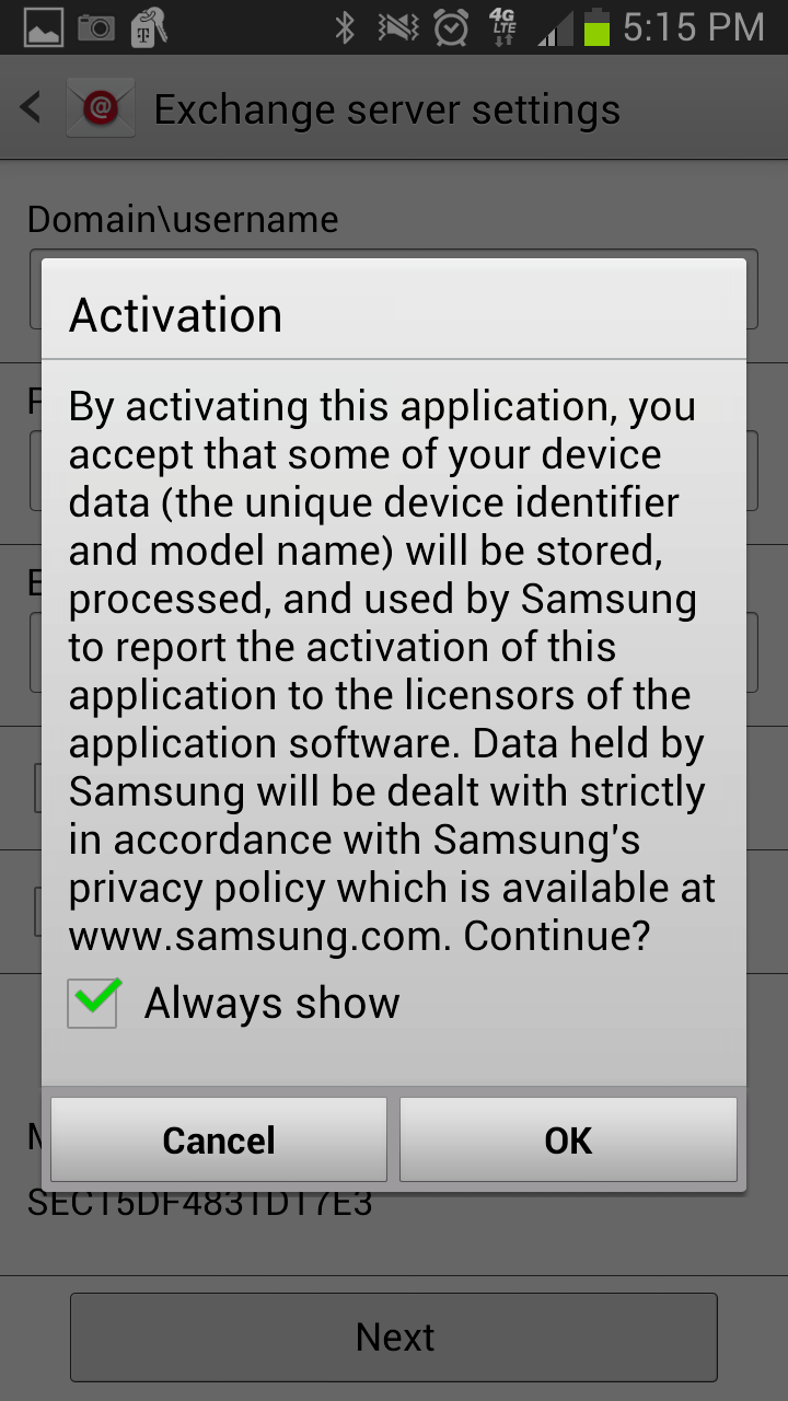 Exchange Setup Android Mobile Devices