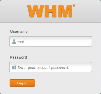 The WHM login page.