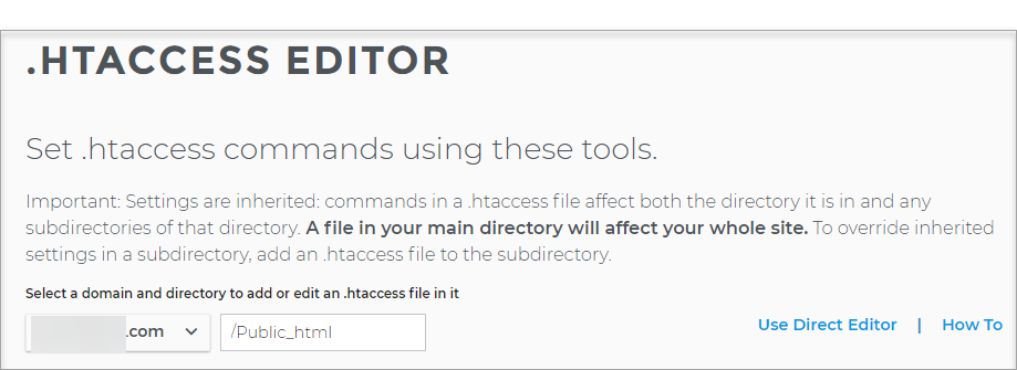 .HTACCESS EDITOR page