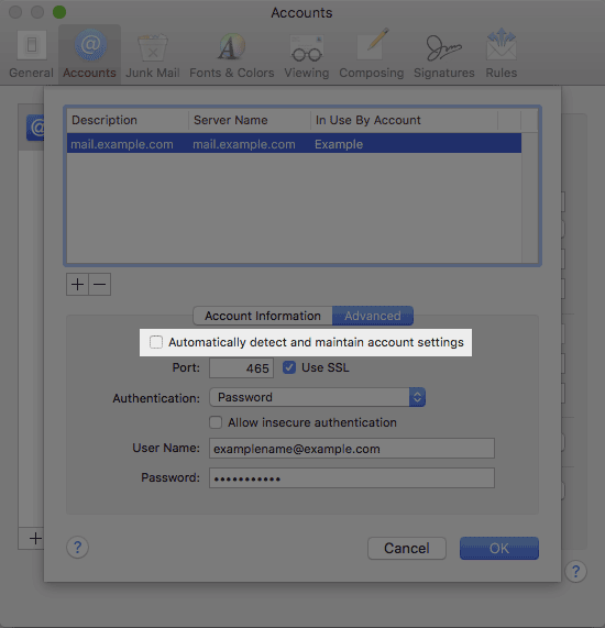 Advanced outgoing settings screen in mac mail.