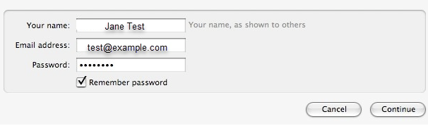 enter email account information