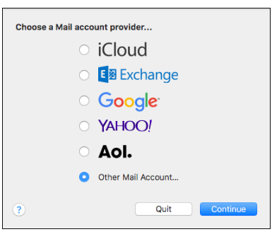 Other Mail Account, Continue
