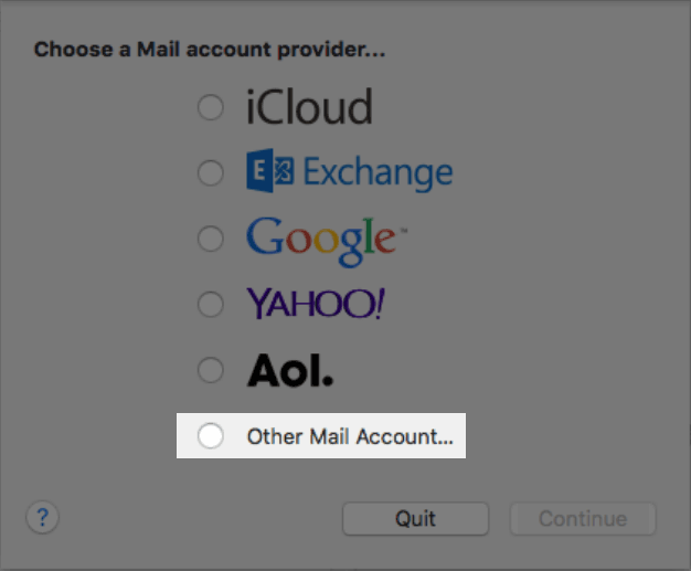 Account types in Mac Mail